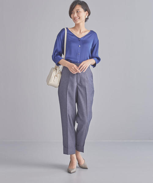 [green label relaxing] 【WORK TRIP OUTFITS】D サテンジョーゼット 前開き ブラウス