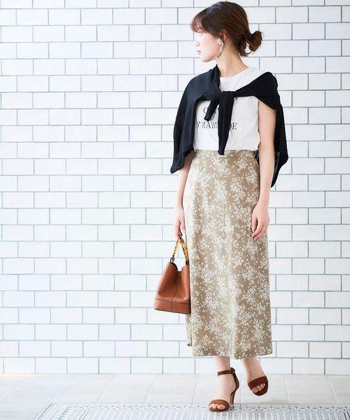 フラワープリントAラインロングスカート
