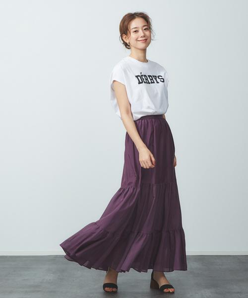 【JILKY】コットンシルクティアードロングスカート