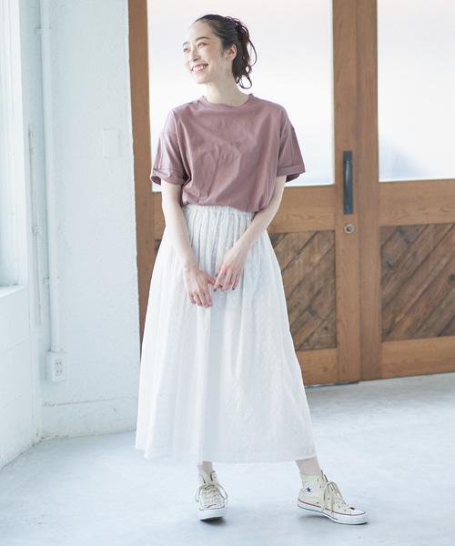 [pual ce cin] 小花刺繍ギャザースカート