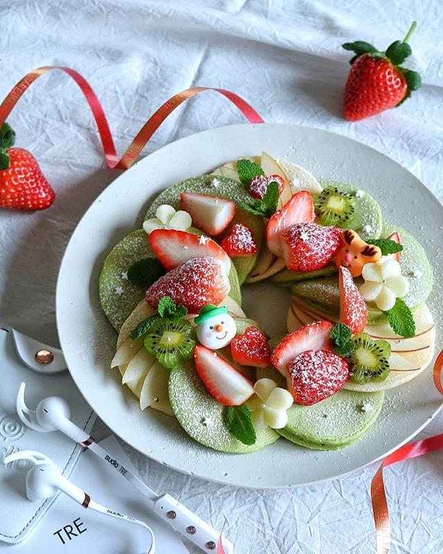 フルーツたっぷり!リースパンケーキ