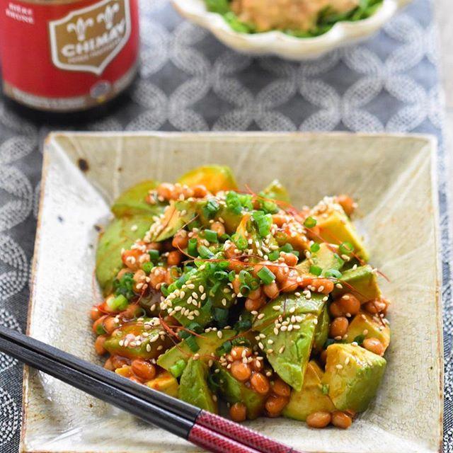 韓国風アボカド納豆和え