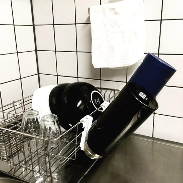 ボトル用水切りを使って省スペース&ボトルの水切りも早く