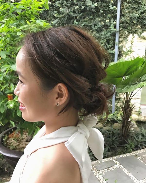 結婚式の髪型《ミディアム×アップヘア》15