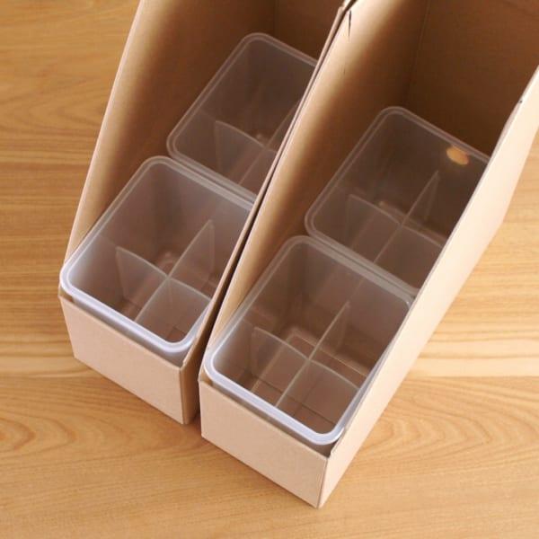 ワンタッチで組み立てられるダンボールスタンドファイルボックス
