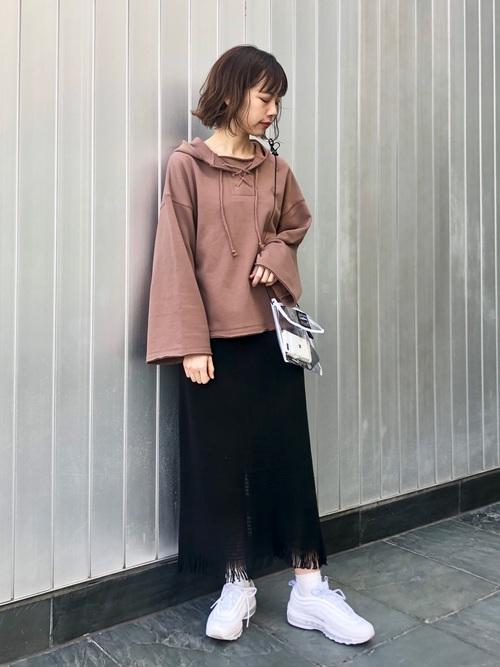 [Kastane] 編み上げフーディースウェット