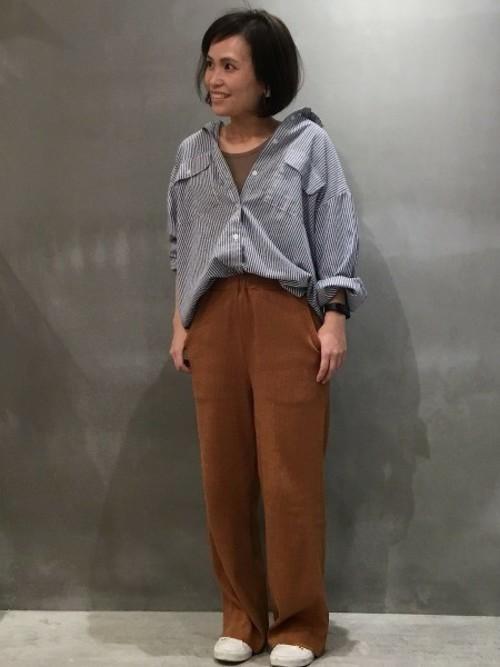 [LAKOLE] 【抗菌防臭】ラウンドネックライトウェイトワッフルトップス / LAKOLE