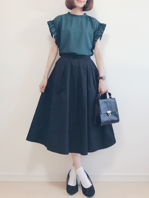 [merlot] コットンフレアタックミディスカート1012N