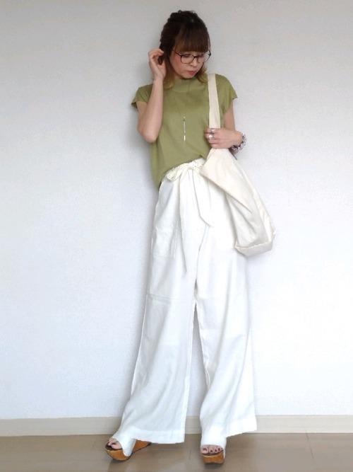 [Fashion Letter] ウエストリボン付き ワイドパンツ