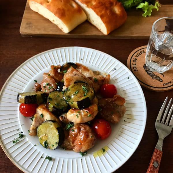 鶏肉と茄子のオイル醤油炒め