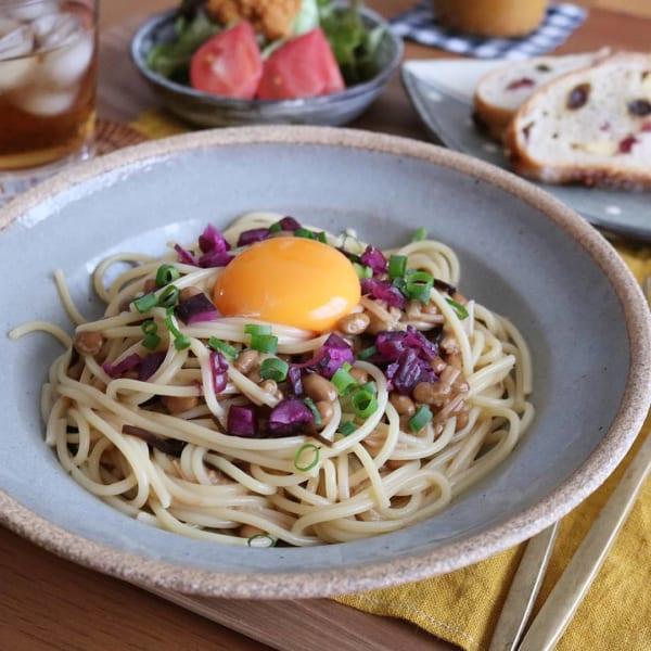 納豆となめ茸の和風パスタ