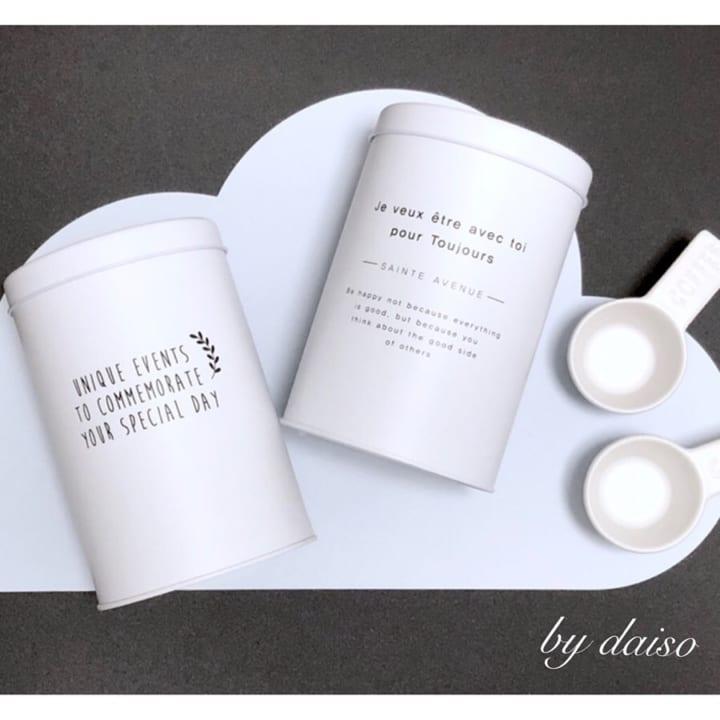 ダイソーのホワイトの丸筒型缶