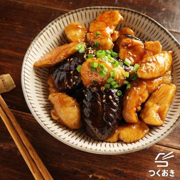 ナスとささみの黒酢炒め