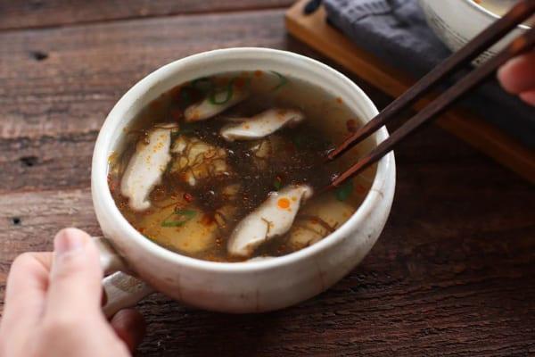 もずく酢の酸辣湯風スープ