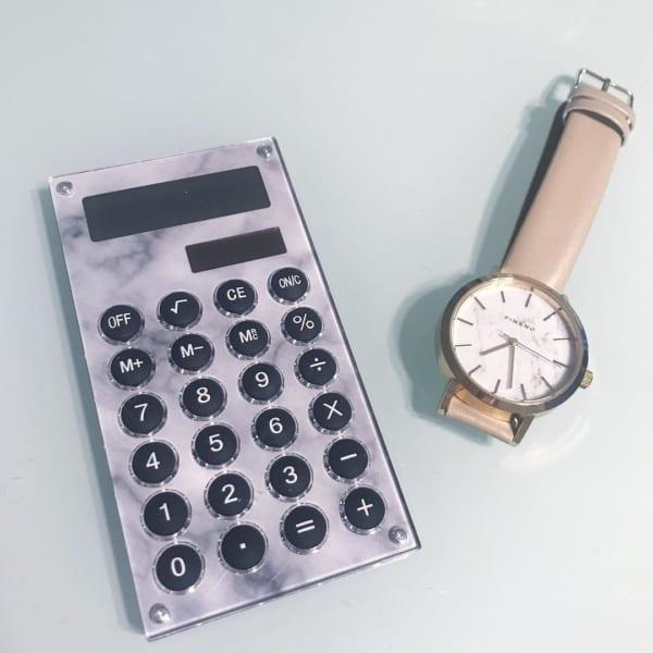 大理石柄腕時計:ベージュベルト