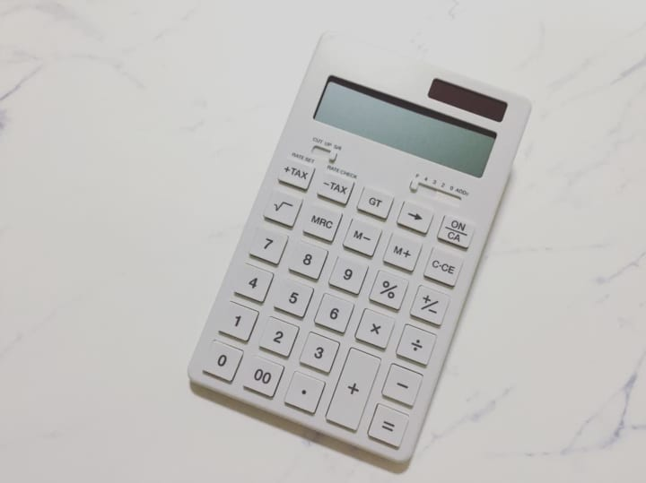 シンプルなデザインの電卓