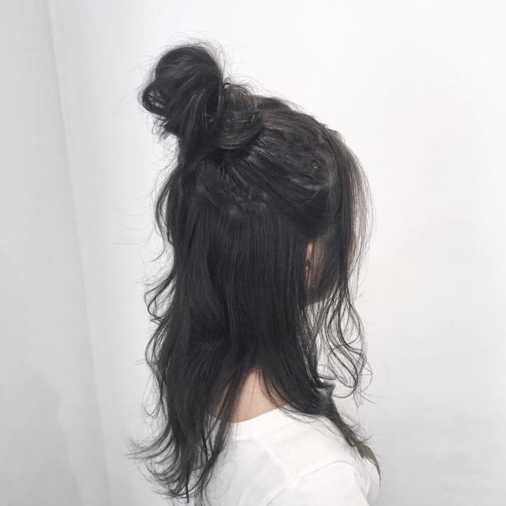 暗髪×お団子×ハーフアップ