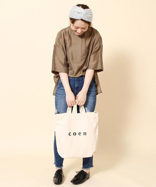 [coen] 【新色追加/シルバー⇒WEB限定色】coen2WAYロゴトートバッグ