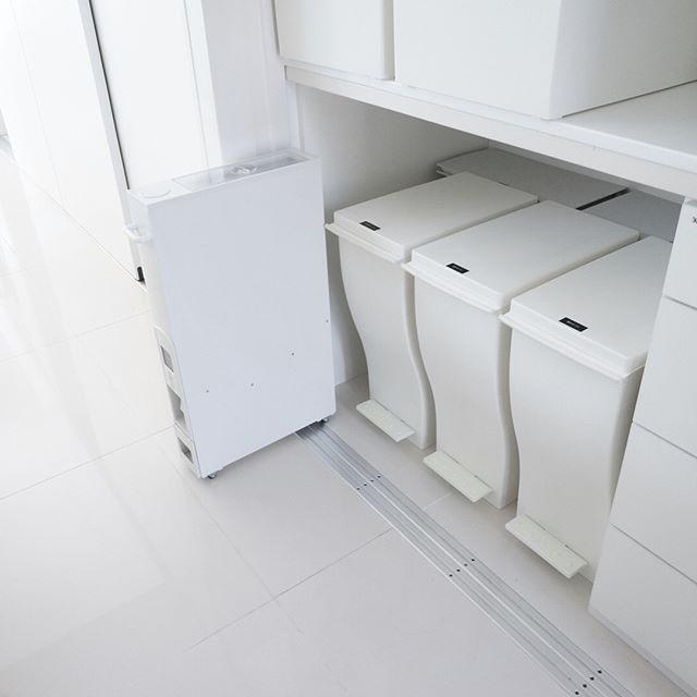 ゴミ箱を収納棚の下に置く4