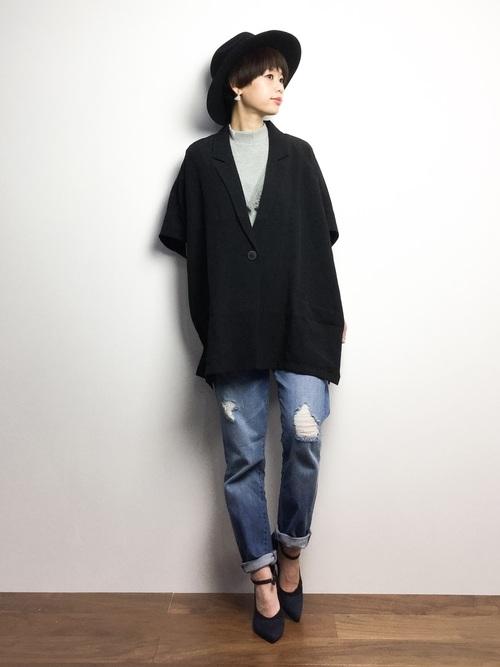 黒 ジャケット コーデ3