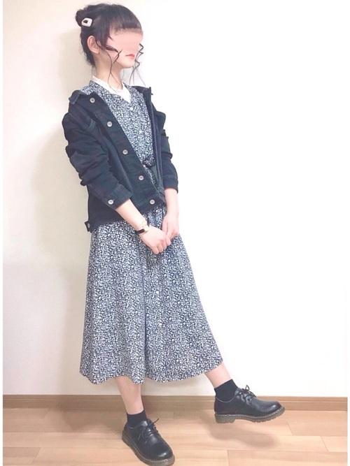GU花柄シャツワンピース×デニムジャケットコーデ
