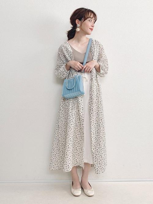 【GU】花柄ワンピース×スカート