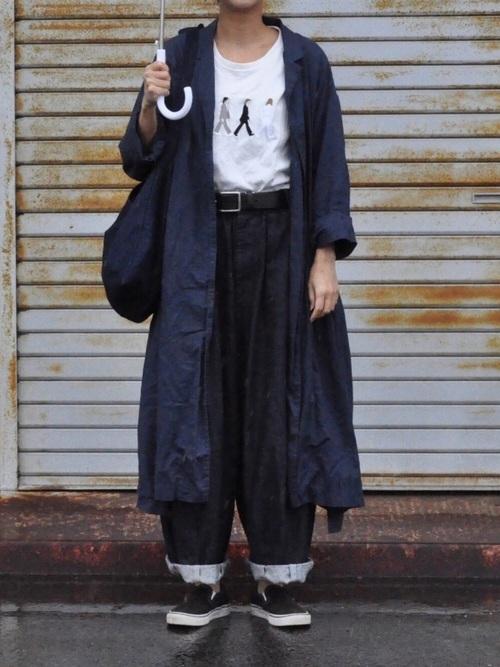 ユニクロシャツワンピース×雨の日コーデ