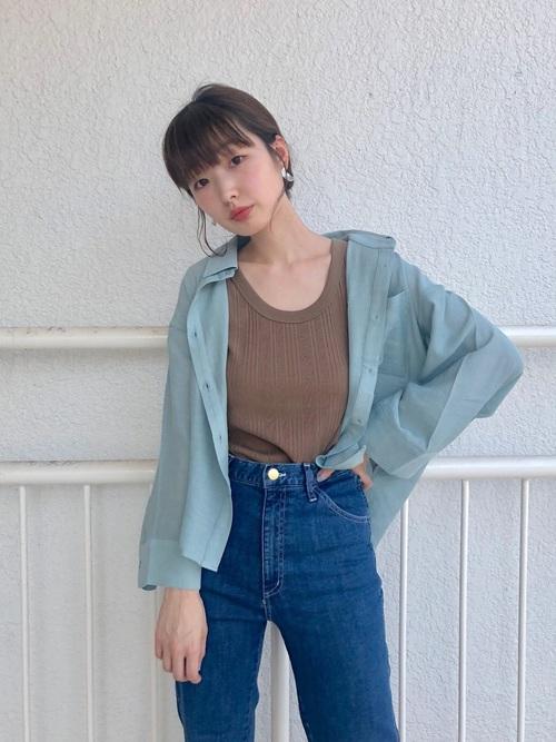 [Kastane] 楊柳シアーBIGシャツ