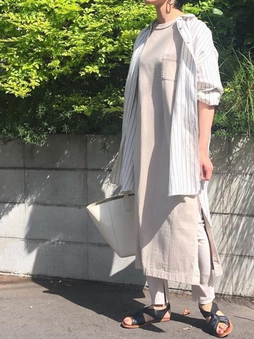 [Munich] リネンレーヨンストライプビッグシルエットロングシャツ
