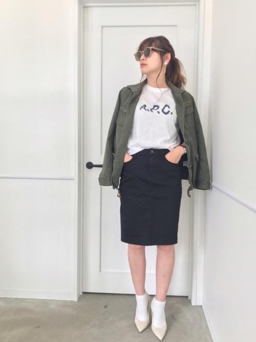 【ユニクロ】デニムスカート×ミリタリージャケット