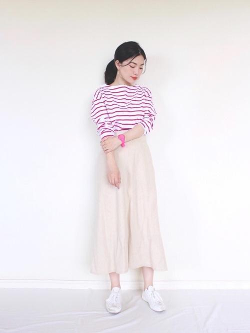 【ユニクロ】ボーダーシャツ×ロングスカート