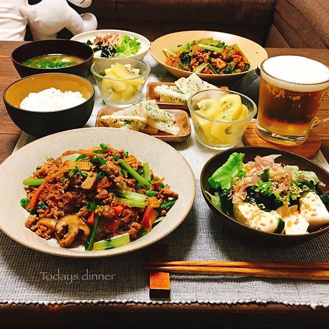 ひき肉と春雨の野菜たっぷり麻婆風炒め