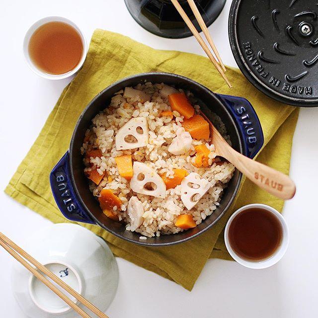 レンコンとカボチャの炊き込みご飯