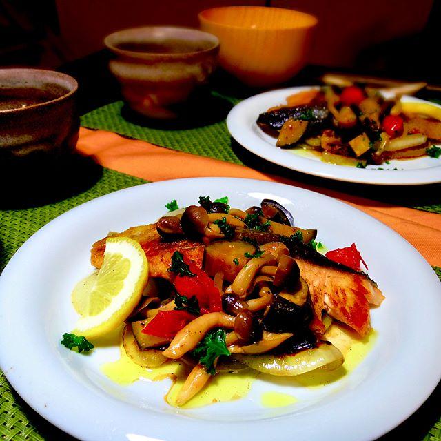 野菜たっぷり秋鮭のグリル