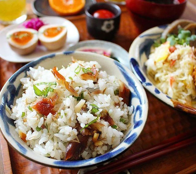 鯖みりん焼きと大葉の混ぜご飯