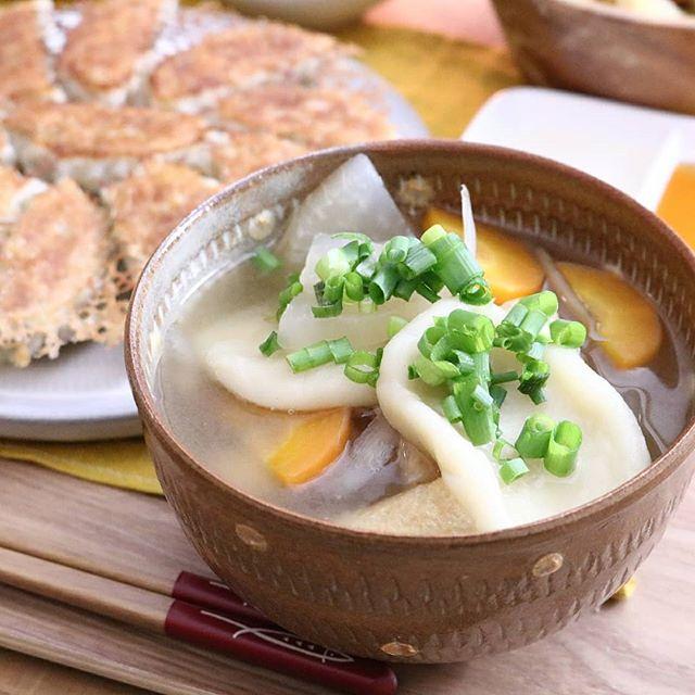 エビマヨと食べ応え十分なだんご汁スープ