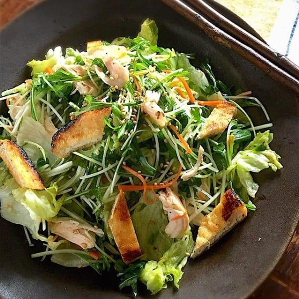 簡単!お揚げと鶏ささみの和サラダ