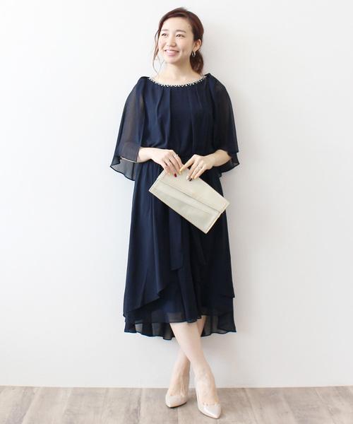 [Jines] 【結婚式 ワンピース/ドレス/二次会】ロングテールカットドレス