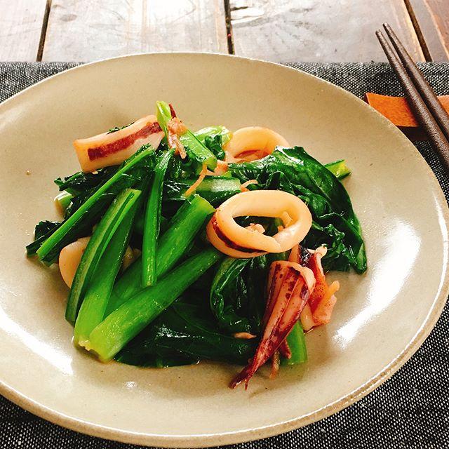 小松菜とイカの中華風炒め