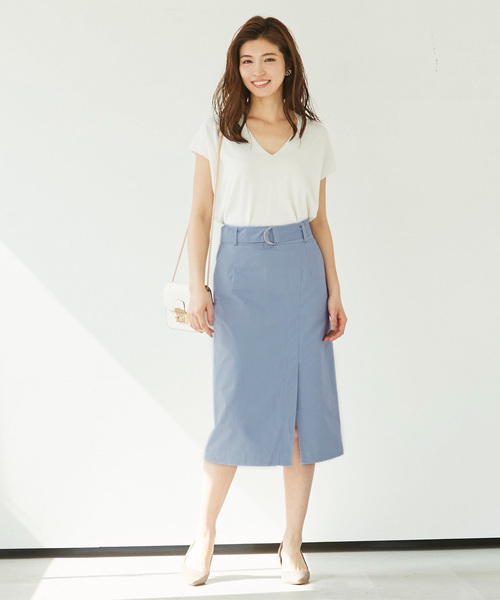 [ur's] ベルト付フロントスリットロングスカート