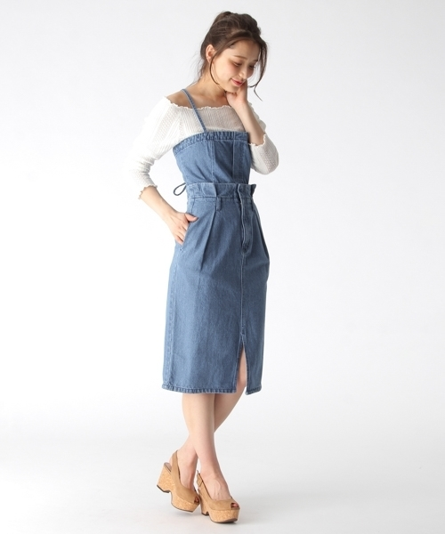 [mysty woman] デニムビスチェ付きタイトスカート