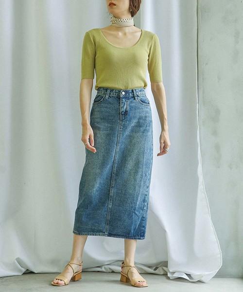 [select MOCA] ウォッシュ加工バックスリット入りデニムロングスカート