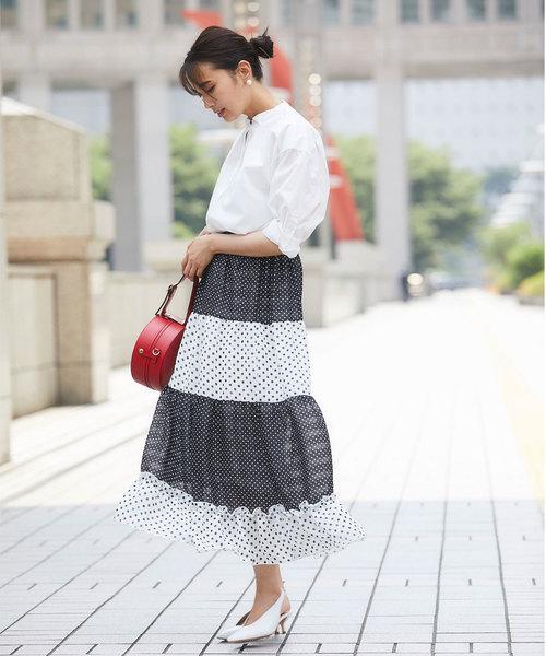[tocco closet] ランダムピッチティアードマキシスカート