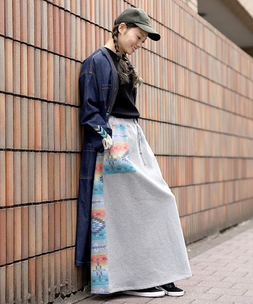 [チチカカ] 【15号】 サラッペリバーシブル裏毛スカート