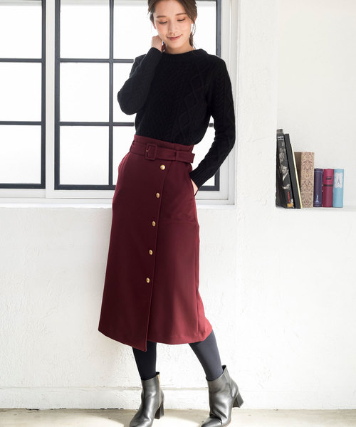 [ANAYI] ダブルツイルラップスカート