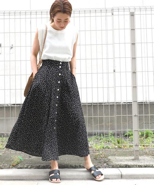 [coca] 変形ドット柄フロントボタンスカート