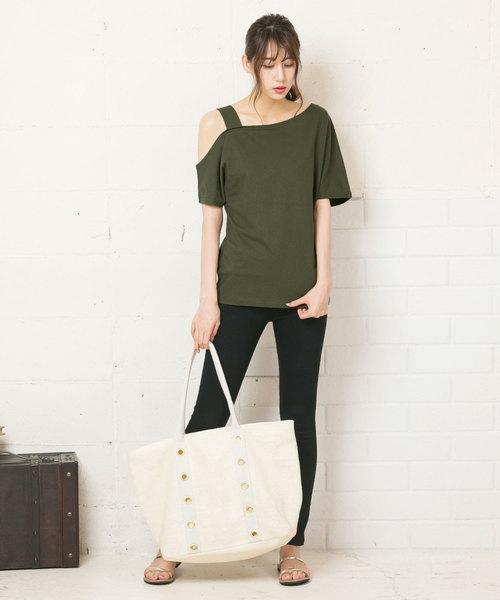 [kobelettuce] ワンショルダーデザインコットン半袖Tシャツ3