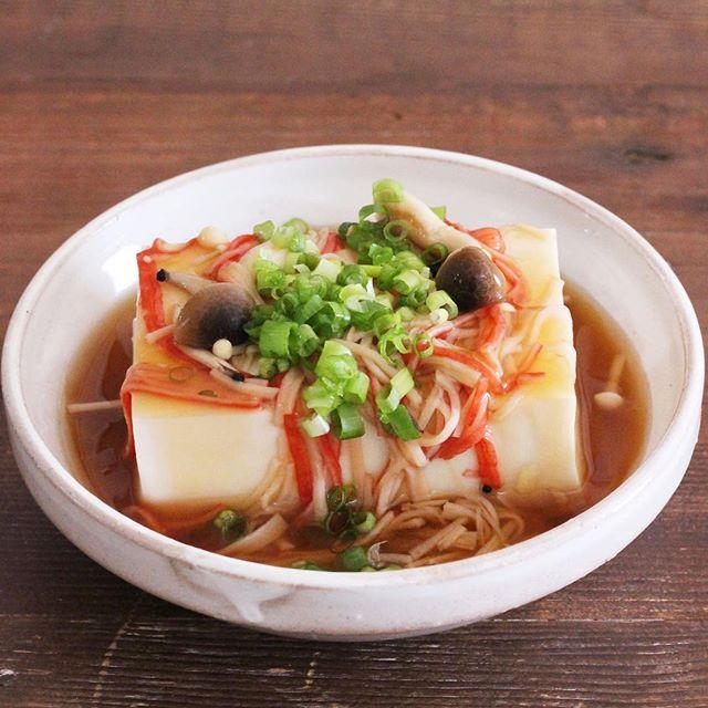 レンジで簡単!カニカマきのこあんかけ豆腐