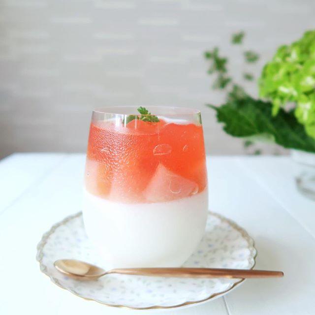 杏仁豆腐と桃のコンポート