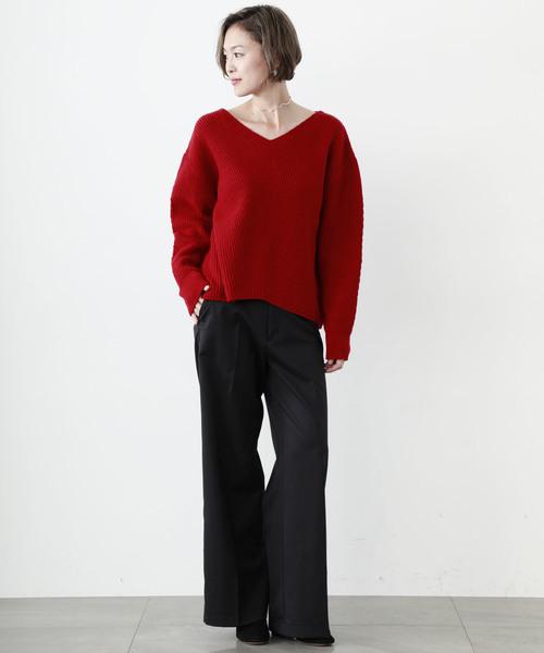 [STUDIOUS WOMENS] 【STUDIOUS】Vネック ビックシルエットニット